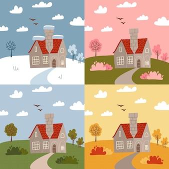 冬、春、夏、秋など、さまざまな季節の石造りの家。一年のさまざまな部分、天気の種類のセット。