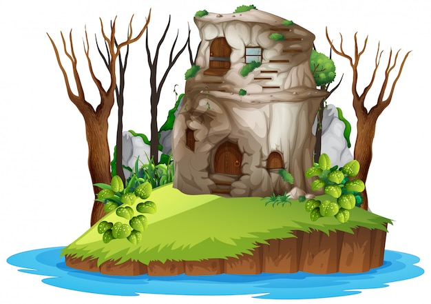 Stone house on island
