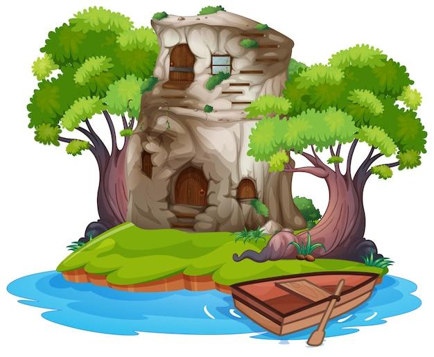 島の石造りの家
