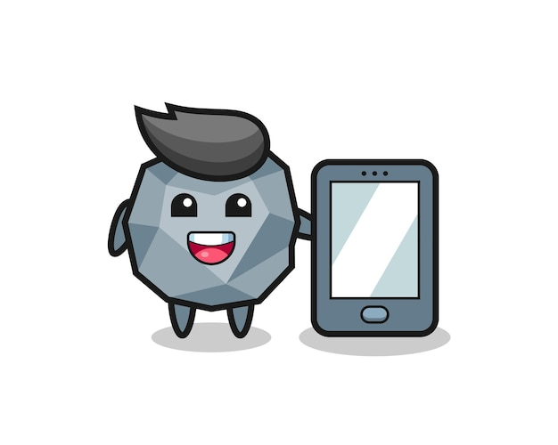 Каменная иллюстрация, мультфильм, держащий смартфон, милый стильный дизайн для футболки, стикер, элемент логотипа