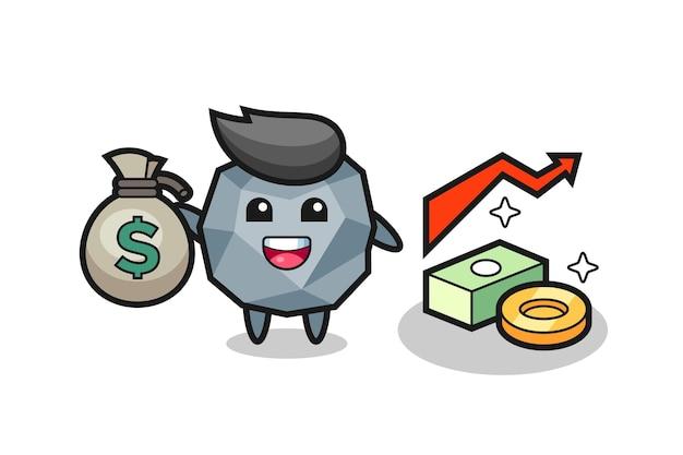 Камень иллюстрации мультфильм держит денежный мешок, милый стиль дизайна для футболки, наклейки, элемент логотипа