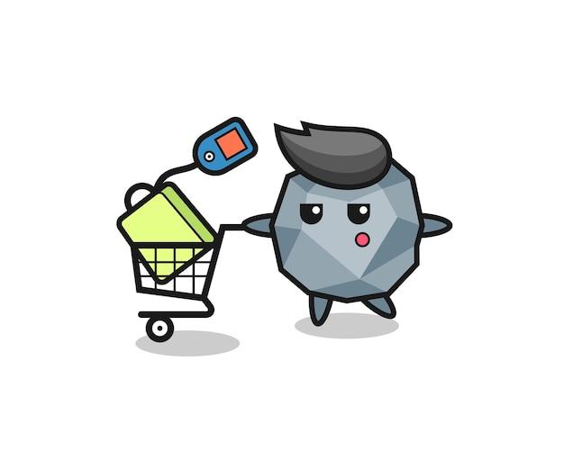 Каменная иллюстрация, мультфильм с тележкой для покупок, милый стиль дизайна для футболки, стикер, элемент логотипа