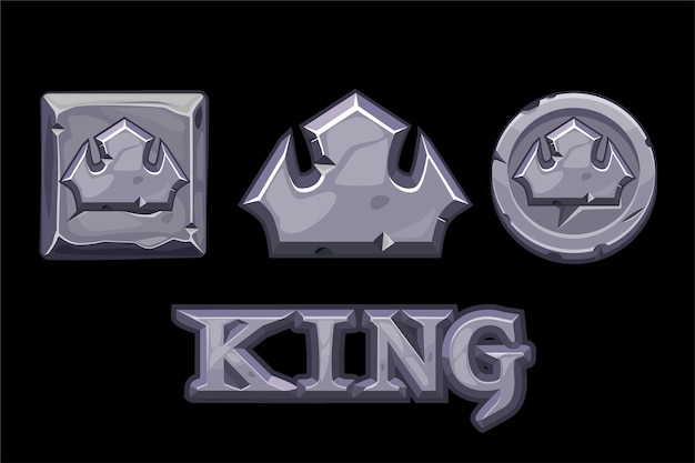 Stone logo is king, crown icon, square and coin.