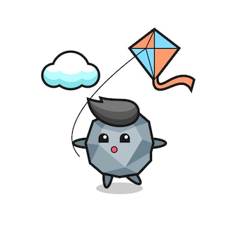 Stone mascot illustration is playing kite , cute style design for t shirt, sticker, logo element