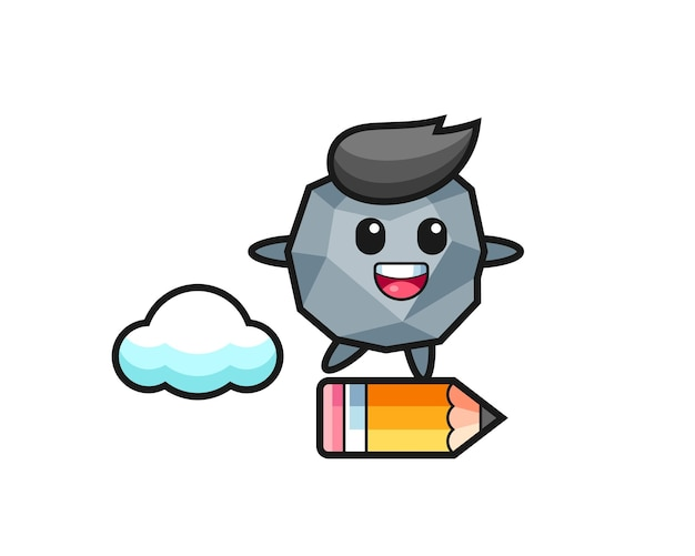 Stone mascot illustration riding on a giant pencil , cute style design for t shirt, sticker, logo element