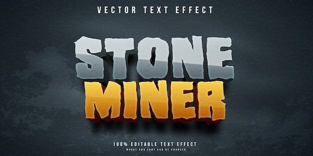 Stone miner editable text effect