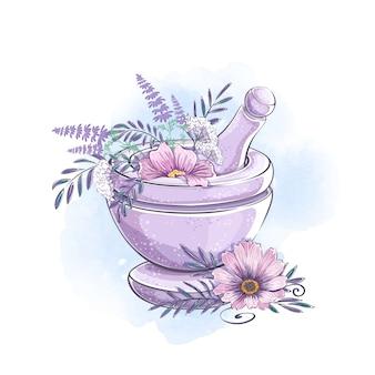 芳香性および薬効があるハーブが付いている石造り乳鉢。自然派化粧品とアロマセラピー。付属品