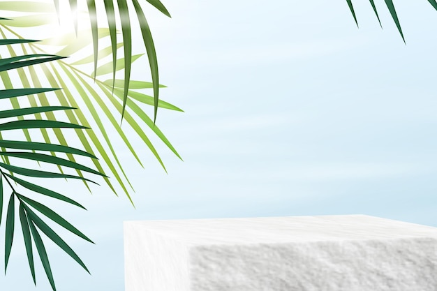 Stone pedestal for product demonstration. minimalistic advertising background with palm leaves.