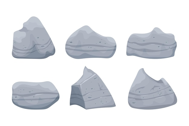 白い背景で隔離の漫画スタイルで重い石の山の岩の建設