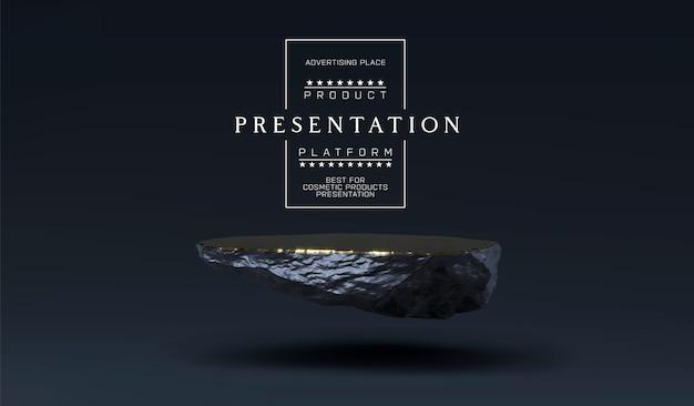 製品プレゼンテーション表示用の石の表彰台。大理石の黒と金の台座、製品スタンド。ミニマルなオブジェクトの配置、化粧品のストーンプレートプラットフォーム。