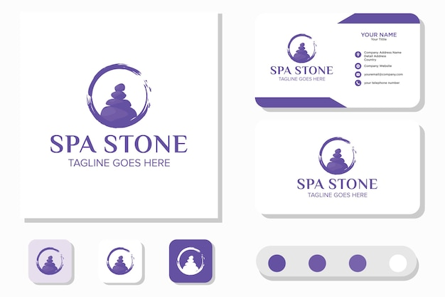 Stone rock balancing spa and wellness and business card