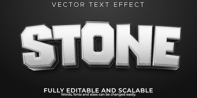 Stone rock text effect; editable cartoon and mountain text style