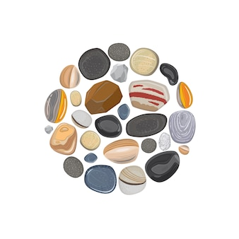 Stone round element isolated on white