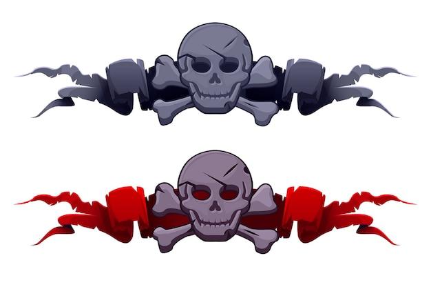 Каменный череп на наградных ленточках для игрового интерфейса