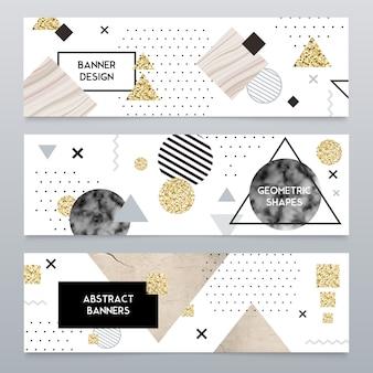 Каменная текстура реалистичные баннеры набор