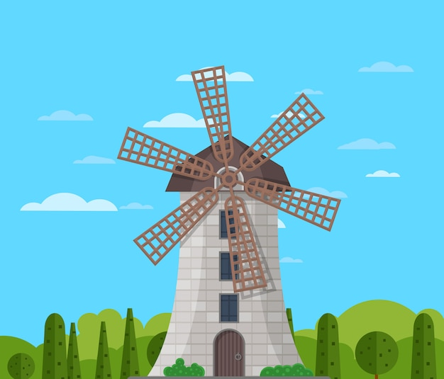 Stone windmill building on nature background