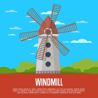 Stone windmill tower on nature background