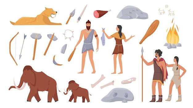 Stoneage primeval family people of primal tribe