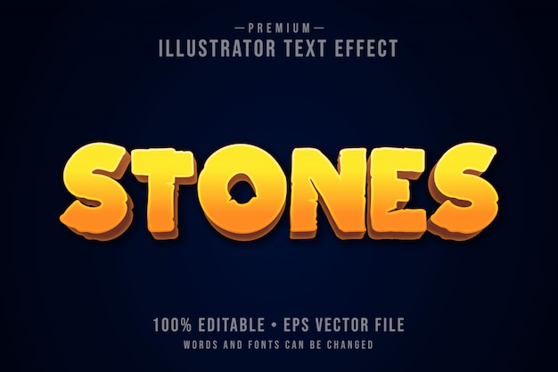 Stones editable 3d text effect or graphic style with light orange gradient