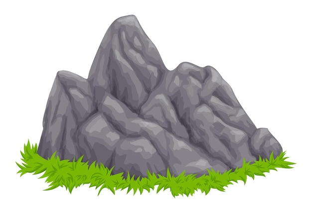 Stones and grass, vector, stone on green grass
