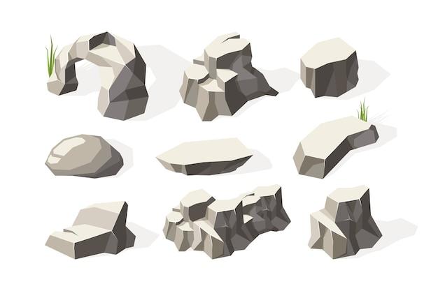 돌 아이소 메트릭. 깨진 건축 바위 미네랄 요소 돌 표면 벡터 컬렉션. 그림 자연 지질학, 깨진 석재 소재