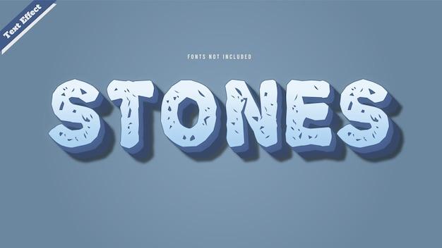 돌 텍스트 효과 디자인 벡터 3d 스타일 편집 가능한 글꼴 효과.