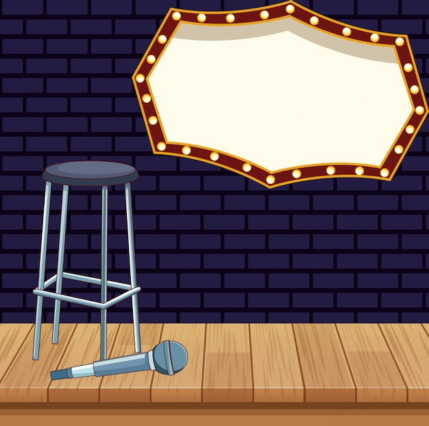 Stool microphone billboard stage stand up comedy show