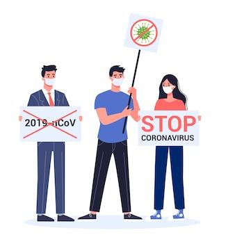 Остановить демонстрацию 2019-ncov. предупреждение о короновирусе. протест против эпидемии опасного вируса.