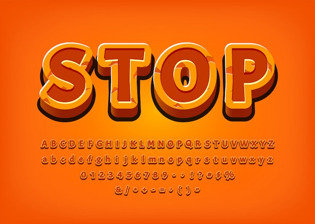 Stop 3d alphabet game logo tittle text effect vector illustration