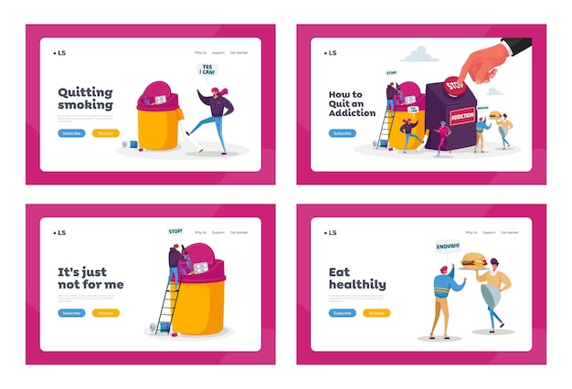Stop addiction, healthy life landing page template set. characters give up smoking, drugs and unhealthy eating