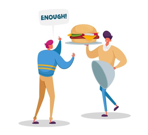 중독을 멈추고 건강한 라이프 스타일 개념을 시작하십시오. 남성 캐릭터는 건강에 해로운 식사를 포기