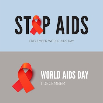 Остановить спид, набор векторных баннеров осведомленности о вич. кампания в поддержку людей с синдромом приобретенного иммунодефицита. толерантность к медицинским заболеваниям, концепция плаката заботы о здоровье с красной лентой