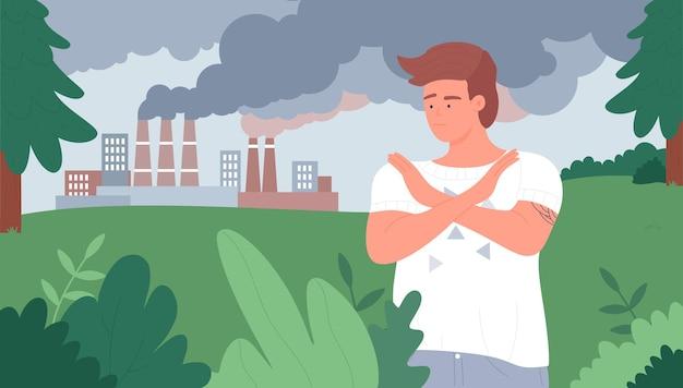 腕を組んで停止ジェスチャーを示す大気汚染エコロジー問題ボランティアを停止します