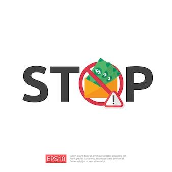 Остановить и антикоррупционная концепция. бизнес взятки с деньгами в конверт и запрет предупреждающий знак. иллюстрация в плоском стиле для баннера, фона, веб-страницы и презентации