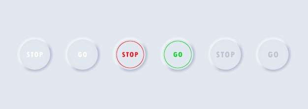 Остановить и пойти значок кнопки набор. стиль неоморфизма. eps10 вектор. изолированные на белом фоне.