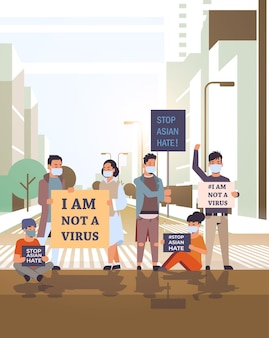 아시아 증오를 중지하십시오. 인종 차별에 대한 포스터를 들고 마스크에있는 사람들. covid-19 코로나 바이러스 대유행 중 지원