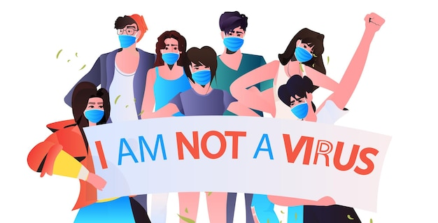Stop asian hate people in masks holding banners against racism support during coronavirus pandemic concept horizontal portrait  illustration
