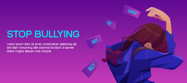 Stop bullying banner with sad girl