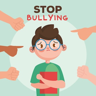Stop bullying and hands pointing at sad boy kid with book , violence victim bully and social theme  illustration