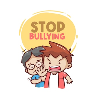 Stop bullying now with illustration