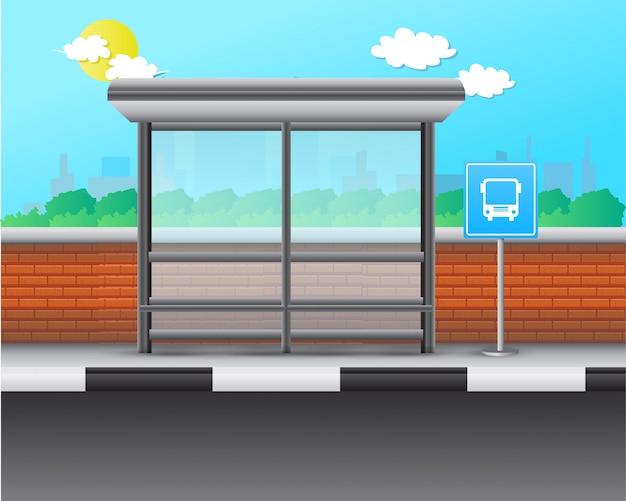 Остановить автобус реалистичные векторные иллюстрации