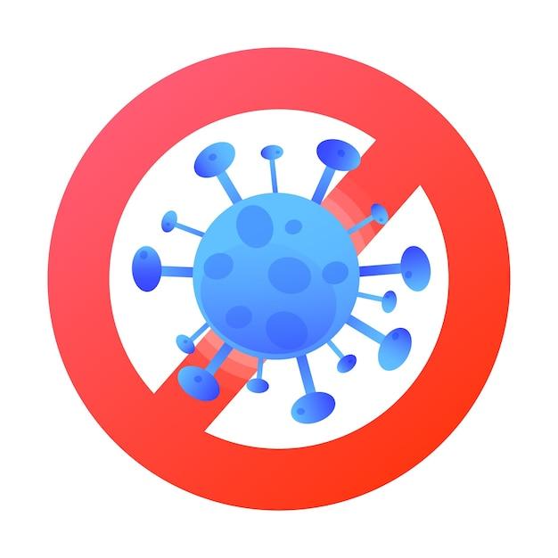 コロナウイルスを停止します。一時停止の標識とウイルス漫画。健康と医療の概念