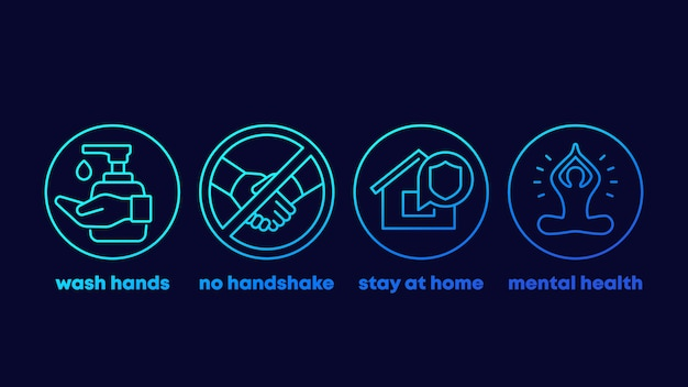 Stop coronavirus advices, wash hands, stay at home line icons