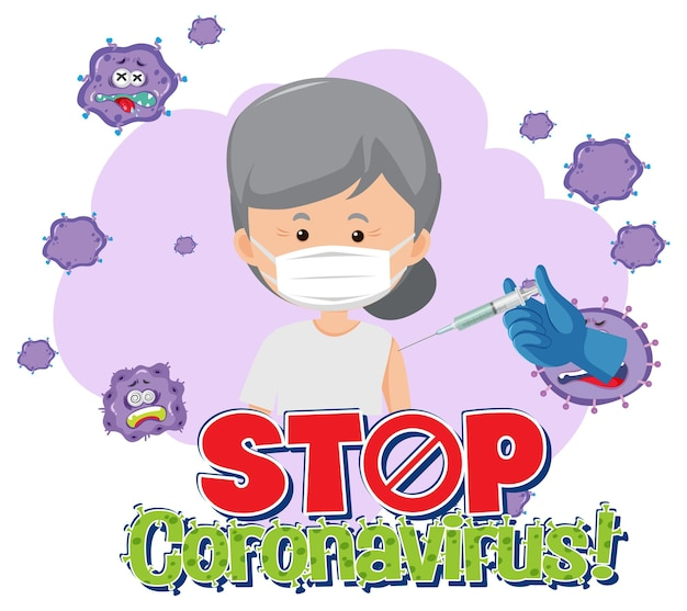 Stop coronavirus banner with patient wearing medical mask