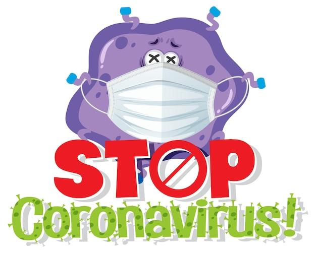 Stop coronavirus banner with virus character wearing medical mask