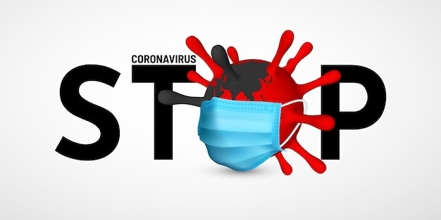 Остановить коронавирус covid-19. иллюстрация медицинской маски блока вируса. мировая концепция пандемии.