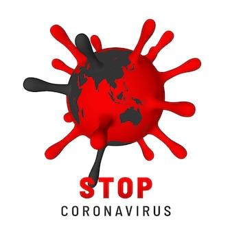 코로나 바이러스 covid-19를 중지하십시오. 바이러스 단위의 그림. 세계 유행성 개념.