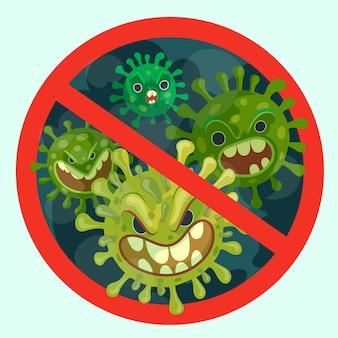 Ferma l'illustrazione del coronavirus