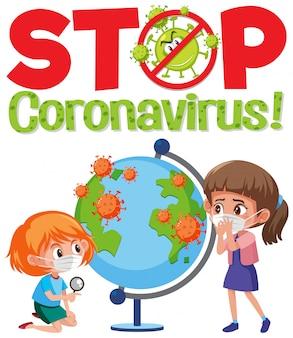 어린이와 지구본으로 코로나 바이러스 로고 중지