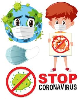 地球の身に着けているマスクの漫画のキャラクターとストップコロナウイルスの看板を持っている男の子とコロナウイルスのロゴを停止します。